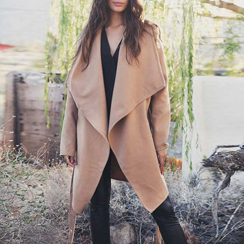 Camel Open Front Belted Lapel Coat