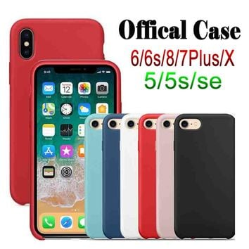 Have LOGO Original Silicone Case For iphone 7 Case For iphone 7plus Cases Phone Cover for Apple iPhone 6 6s 8 7 Plus X Reail Box