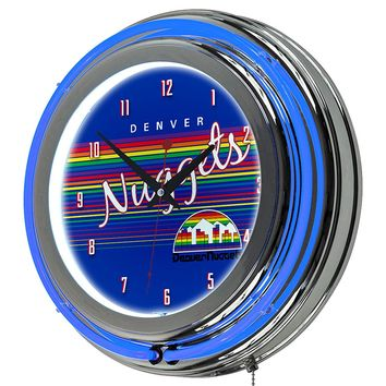 Denver Nuggets Game Room Premium Neon Clock