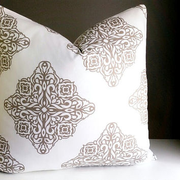 Decorative Pillow Brown-Grey and white White Medallion Pillow Cover, Medallion Pillow 16x16 18x18 20x20 22x22 24x24