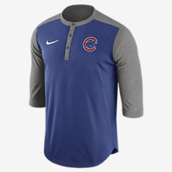 Men's Chicago Cubs Royal Nike Dri Fit Henley 3/4 Sleeve T-Shirt