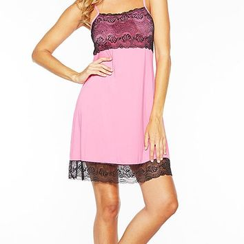 Butter Knit Chemise w/Lace-Trim and Shelf Bra (Large)