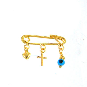 Gold Filled Diaper pin with cross charm