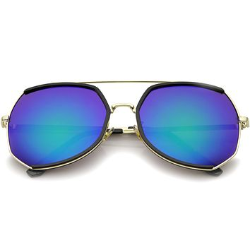 Oversize Angular Mirrored Lens Aviator Sunglasses A387