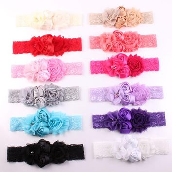 Lace Baby Headband Lace Flower Girls Hair Bow Girl Accessories / 12 color choices