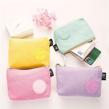 PACGOTH korean lady style candy color canvas square zipper coin purse school girls cash money pouch creative gifts for girls kid
