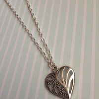 Silver Hollow Heart Charm Necklace