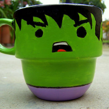 Handpainted The Hulk Stackable Mug by TheCornerGeekery on Etsy