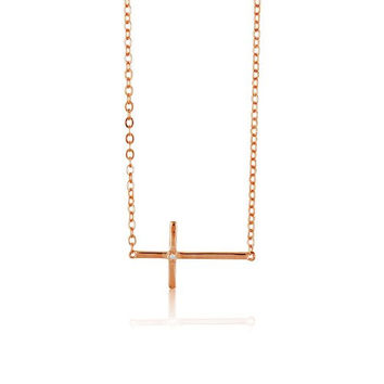 "Sterling Silver 16 + 2"" extension Rose-Gold Plated Sideways Cross Single Synthetic Stone Necklace"