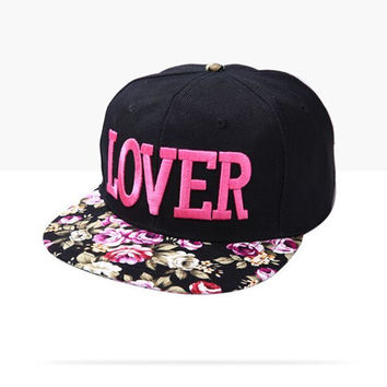 Fabric flowers LOVER caps  Korean  fashion brand three-dimensional embroidery hip hop cap sun hat for men women snapback