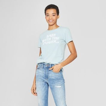 Women's Short Sleeve Babe with the Power T-Shirt - Mighty Fine (Juniors') Blue