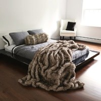 "Best Home Fashion Pearl Finn Raccoon Faux Fur Full Throw Blanket 58"" x 84"" - TR"