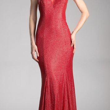 Red Long Prom Dress with Illusion Neckline and Cut-Out Back