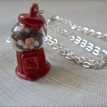 Sweet Treats Gum ball machine necklace Geek Nerdy Candy Metal Pendant 18 inch silver plated chain mini food