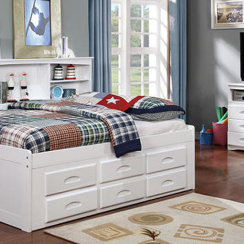 Addie White Full Size Big Bookcase Storage Bed