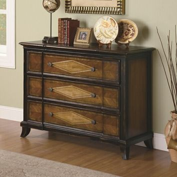 Two tone finish wood bombe chest hall cabinet console table with 3 storage drawers and wood inlays