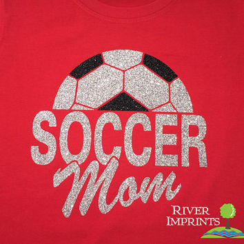 SOCCER MOM sparkly glitter shirt - fitted, regular, or long sleeves