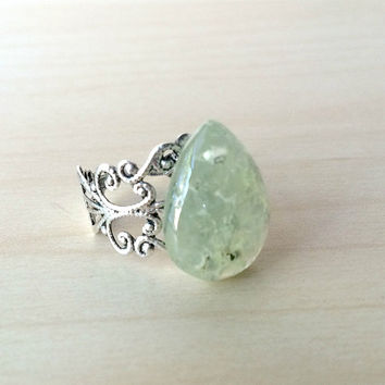 Prehnite Gemstone Ring Green Prenite Adjustable Statement Ring Prehnite Statement Ring Tear Drop Prehnite Ring Green Gemstone Boho Ring R34
