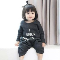 Baby clothes and climb spring and autumn letter long-sleeve romper high quality fashion baby clothing