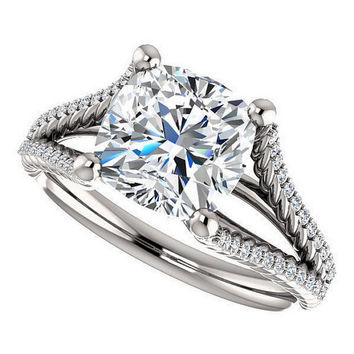 harper ring - 2 carat cushion cut moissanite engagement ring, diamonds, 14k white gold