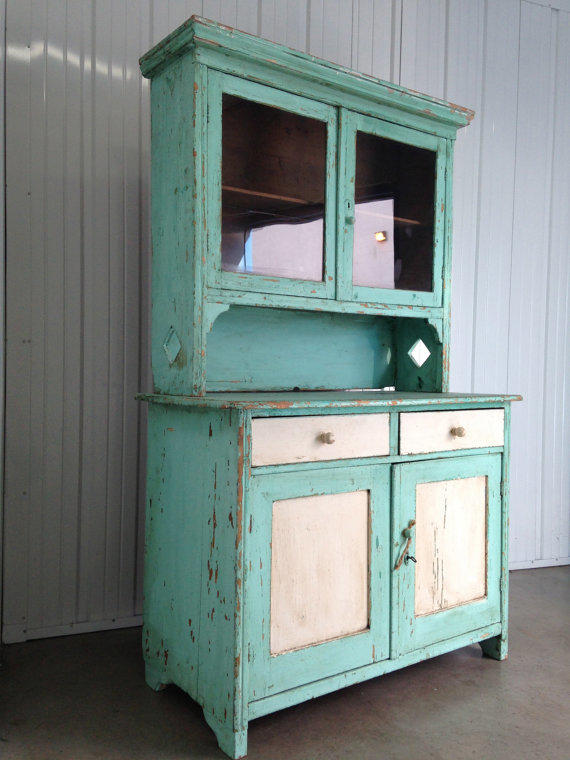 SALE 20% OFF Antique Belgium Turquoise and White Kitchen Cabinet display  distressed shabby chic beach interior modern rustic design infusion