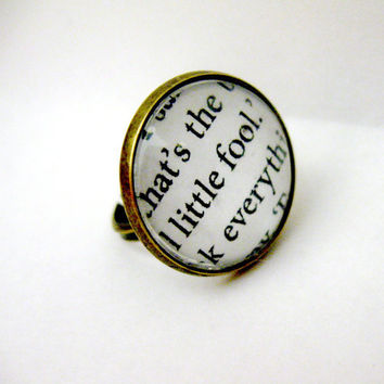 The Great Gatsby Quotes Book Page Jewelry Ring Beautiful Little Fool Upcycled Altered Book Art Jewelry Classic Literature for Book Lover