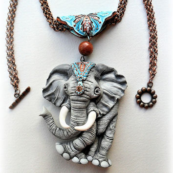Polymer clay necklace with an elephant - Handmade - animal jewelry - Best gift  for her - Grey - Boho style - Ornaments - Women's jewelry