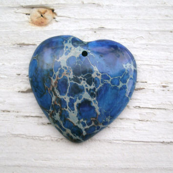 Blue Stone Heart Pendant Bead, Sea Sediment Jasper Heart, DIY jewelry, pendants,  wire wrapping stones, OOAK rocks, deep blue stone heart