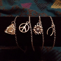Buddha Body/Peace Sign/Sunflower/Wishbone Silver Chain Adjustable Anklets