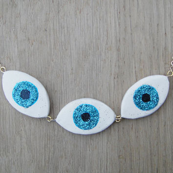 Collier chaine oeil paillettes plaque or glittery evil Eye statement necklace gypsy necklace kitsch statement necklace bohemian gold plated