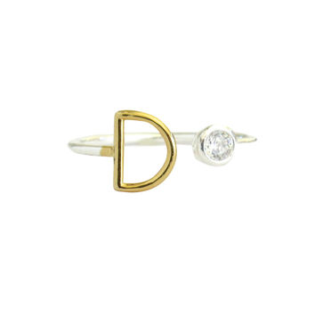 Two Tone Initial Diamond Ring