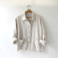20% OFF SALE vintage linen shirt. button down shirt. oversized slouchy shirt. oatmeal shirt. modern minimalist.