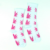 Men Casual Long Socks/ Pink Weed