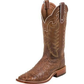Men's Chocolate Full Quill Ostrich-13in Chocolate Top Cowboy Boots