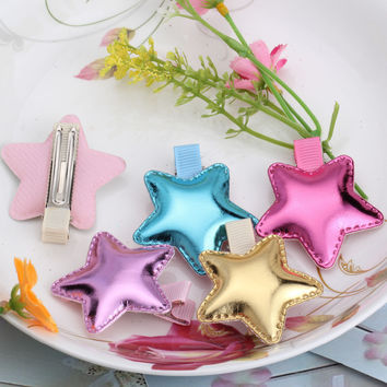 Children Accessories Sweet PU Heart Star Crown Hair clip Baby Girls Hairpins Kids Barrette Lovely Shiny Leather Headwear