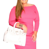 Coral Knee Length Sexy Plus Size Dress