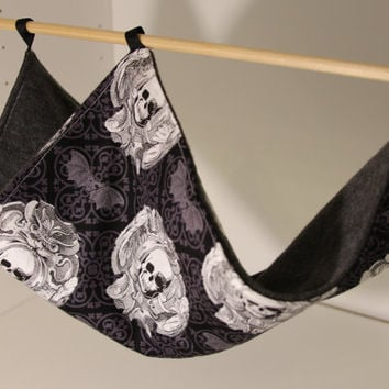 Rat Hammock Ferret  Hammock Guinea Pig Cozy Hamster Bed Cotton Fleece Fabric Sewn Small Pets Pet Rodent Gothic Bats Goth Skulls Black Gray