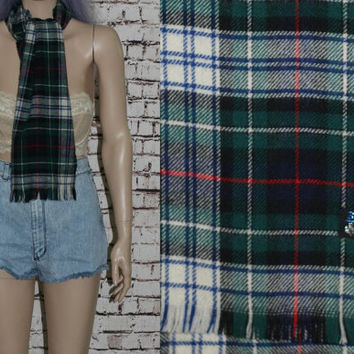 60s Scarf Wool Plaid Tartan Woven Green Blue White Red Black Scottish Hipster Mod Rockabilly Punk Boho Festival 50s Mens Wear 70s long knit
