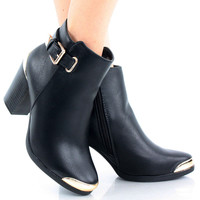 Apollo Metal Chunky High Heel Ankle Bootie Boots