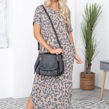 Feeling Cute Leopard Pocketed Dress