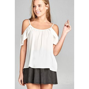 Ladies fashion short ruffle sleeve round neck w/button detail open shoulder crepe woven top