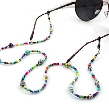 Women Fashion Colorful Casual Beaded Eyeglass Eyewears Sunglasses Reading Glasses Chain Cord Holder neck strap Rope