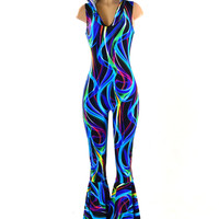 Hooded Sleeveless Bell Bottom Flare Jumpsuit in Blue Green Neon Swirl