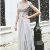 Cap Sleeve Silver Evening Gown