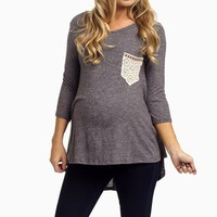 Charcoal-Soft-Knit-Crochet-Pocket-Maternity-Top