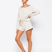 ASOS | ASOS LOUNGE Oatmeal Marl Jersey Short at ASOS