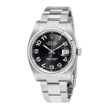 Rolex Datejust Black Concentric Dial Steel and 18K White Gold Mens Watch 116234BKCAO