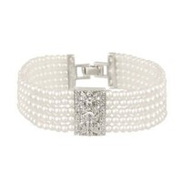 "Sterling Silver 5-Row Simulated Pearl with Vintage Cubic Zirconia Plaque Center Bracelet,7.25"": Jewelry: Amazon.com"