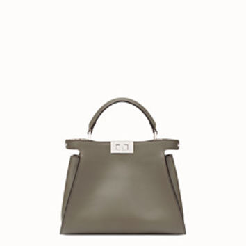 Gray leather bag with exotic details - PEEKABOO ESSENTIAL | Fendi | Fendi Online Store
