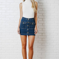 Brandie Button-Up Denim Skirt